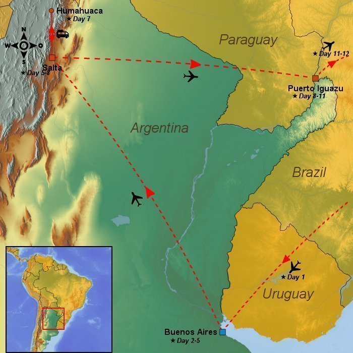 Days In Argentina The Andes Mountains And The Iguazu Falls - Argentina map mountains