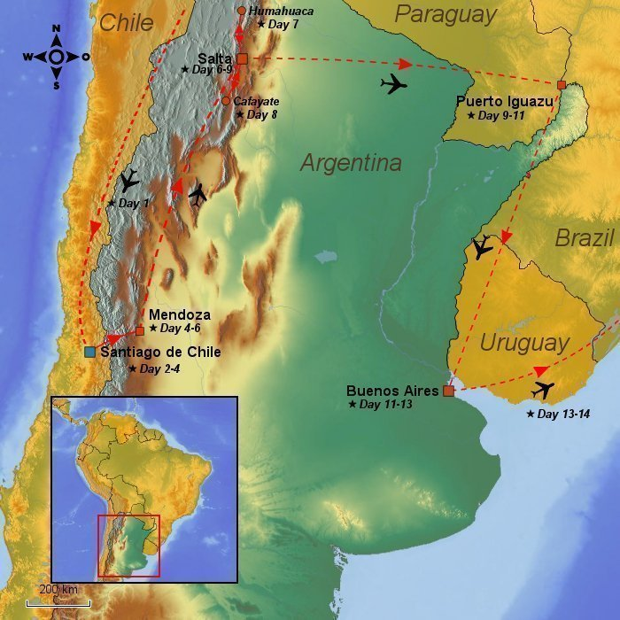 Day Tour Of Argentina Chile The Andes Wine Waterfalls - Argentina map mountains