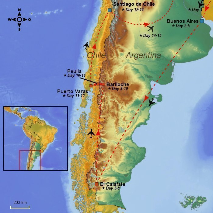 Days In Argentina Chile Glaciers Lake Districts And Capitals - Argentina map capital