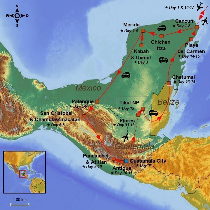 the yucatan peninsula and guatemala are famous in particular for their beauty and for the impressive ruins from ancient mayan civilisations